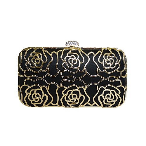 Anna Cecere Italian Designed Rosa Jewel Clutch Evening Cocktail Bag – Black