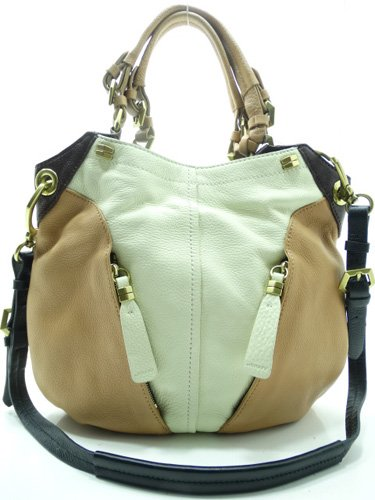 Oryany Pebble Leather Victoria Colorblock Large Hobo Shoulder Bag Butter Multi Leather