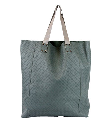 Bottega Veneta Unisex Grayish Green Leather Tote Bag 329788