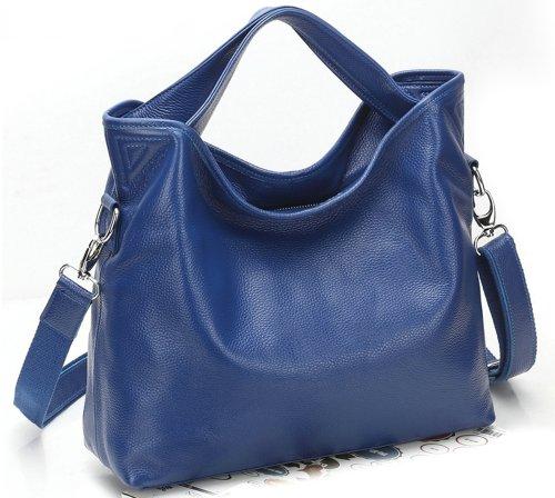 Ilishop Women's Blue Tote Handbag Genuine Leather Shoulder Bag NB060-blue