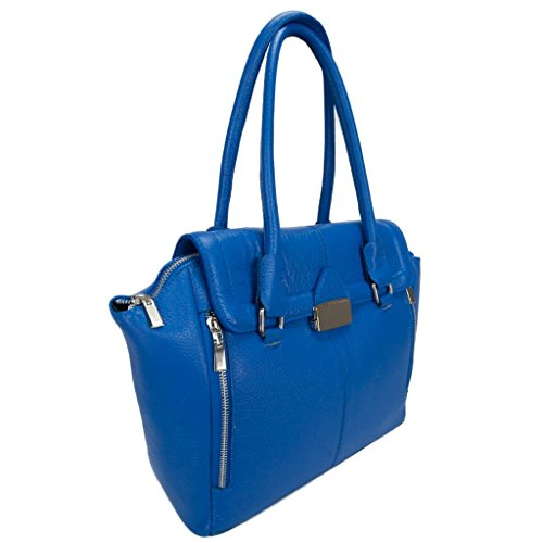 HS 5193 EB FREYA Made in Italy Electric Blue Leather Shoulder/ Tote Bag