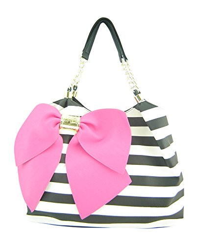 Betsey Johnson Bow-licious Tote Handbag Candy Stripe Black Ivory