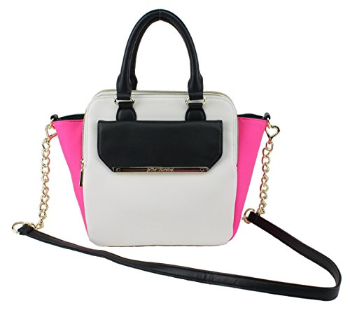 Betsey Johnson Triple Entry Medium Satchel Shoulder Handbag, Bone