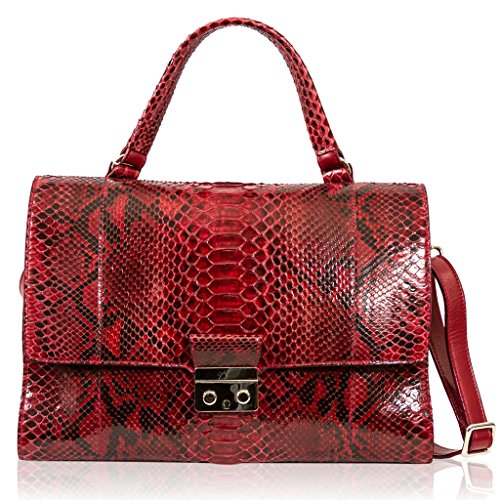 Ghibli Italian Designer Garnet Red Python Leather Top Handle Purse Crpssbody Bag