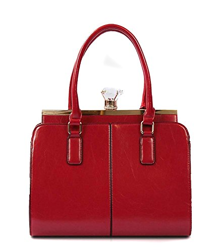 RED Kenzie Satchel with Large Jewel Top Handle Handbag Purse