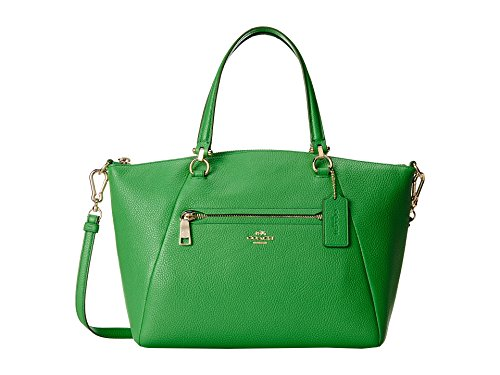 Coach Pebbled Prairie Satchel Leather Handbag Green