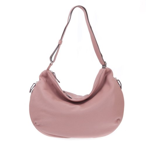 BRUNO ROSSI Italian Made Dusty Rose Deerskin Leather Designer Hobo Bag