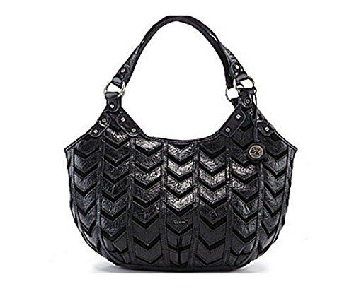 Sak Indio Leather Black Chevron Rider Hobo Handbag
