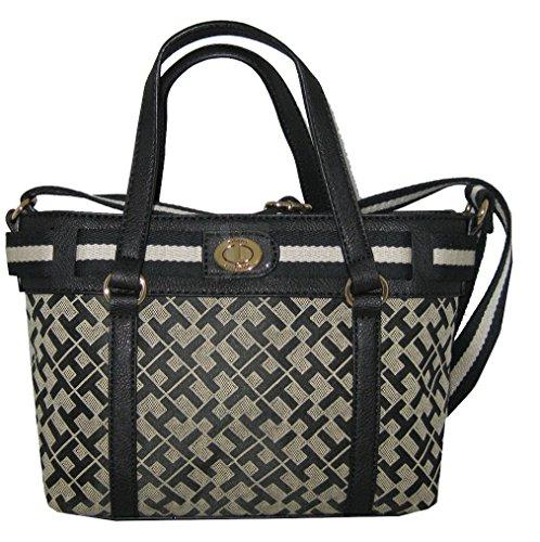 Tommy Hilfiger Canvas Crossbody Bag Small Tote Handbag Purse Black / White