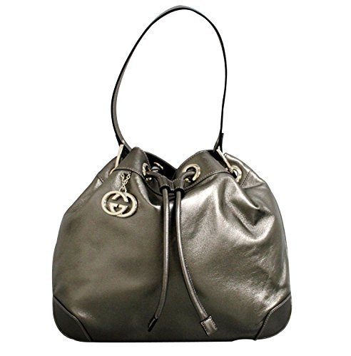 Gucci Leather Metallic Light Copper Drawstring Handbag Shoulder Bag