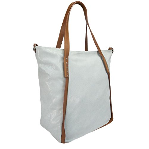 HS 5196 GM CECI Made in Italy Grey/Brown Leather Soft Shimmery Tote/Shoulder Bag