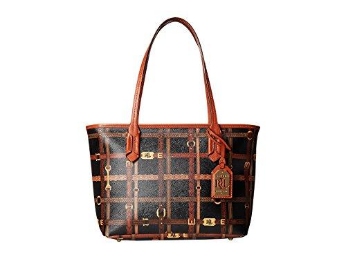 Ralph Lauren Gallaway Shopper Logo Print Tote/ Black Brown