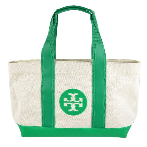 Tory Burch Stripe Baby Multifunction Tote Natural Emerald