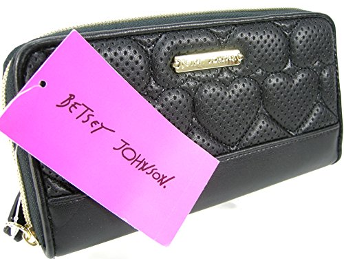 Betsey Johnson Zip Around Wallet Purse Hand Bag Black Perforated Hearts