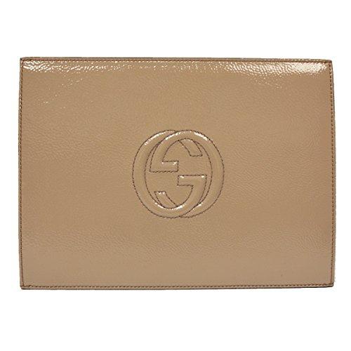 Gucci Soho Mauve Pink Patent Leather Envelope Clutch Evening Bag 338033