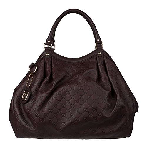 Gucci Sukey Guccissima Dark Chocolate Brown Leather Large Tote Bag New
