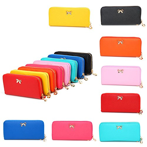 DZT1968(TM)Women PU Leather Bow Long Wallet Coin Purses Clutch Money Phone Card Bags With Strap Around Zipper