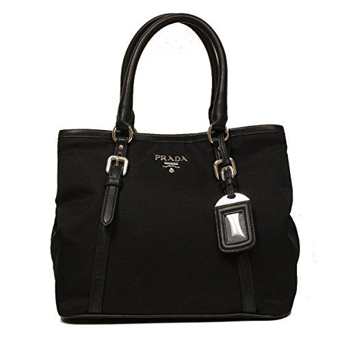 Prada Black Tessuto Soft Calf Leather Bowling Bag Medium Top Handle Handbag with Shoulder Strap