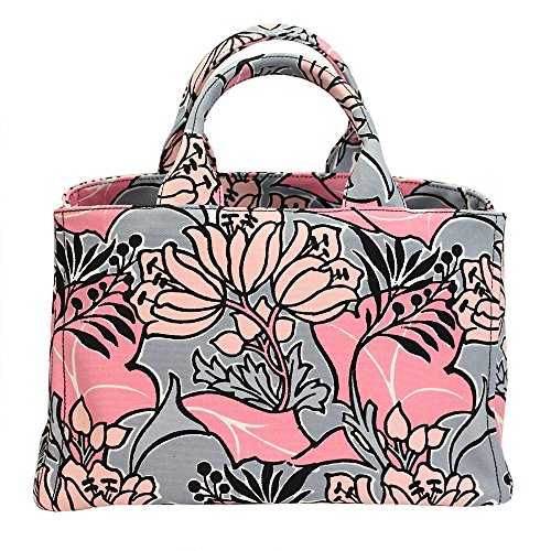 Prada Women's Canapa Pink Flower Print Canvas Tote Bag W/strap Bn1877