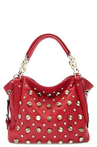 Fashion Handbag Purse Bag Rhinestone Designer Tote Red – 3038