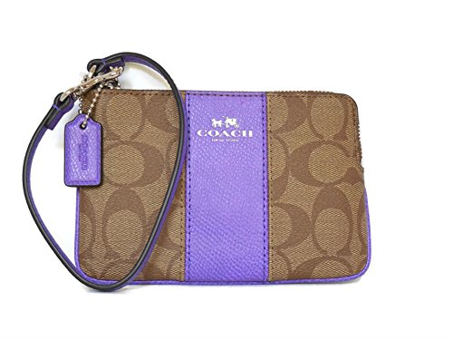 Coach Signature PVC Leather Khaki Purple Iris Corner Zip Wristlet 64233