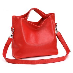 Ilishop Women's Red Tote Handbag Genuine Leather Shoulder Bag NB060-red