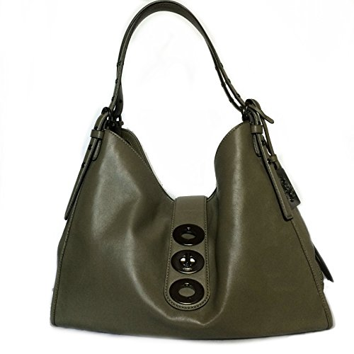 Coach Madison Triple Turnlock Carlyle Shoulder Bag in Leather Olive Grey 32325