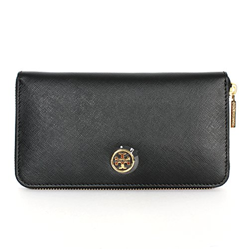 Tory Burch Saffiano Leather Zip Continental Wallet Black