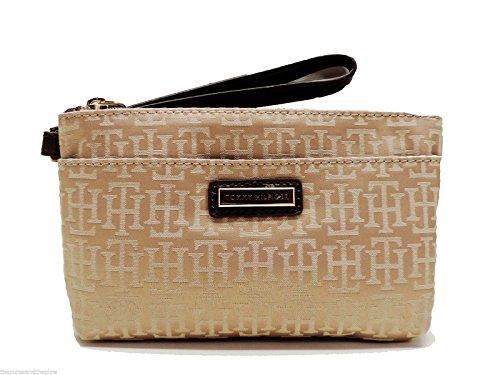 Tommy Hilfiger Signature Wristlet Handbag Tan w/ Beige Th Logo Top Zip