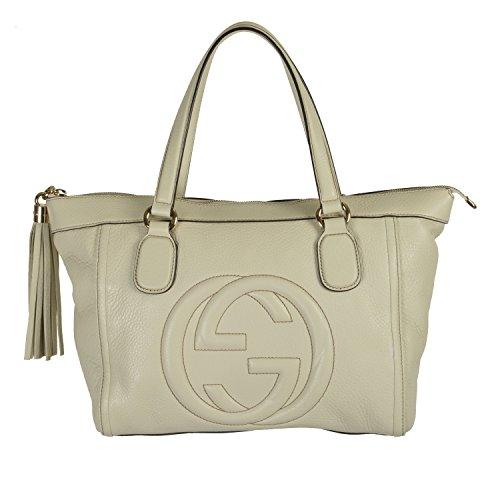 Gucci Women's Off White GG Logo Leather Handbag Shoulder Bag