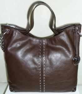 Michael Kors Uptown Astor Rare Coffee Dark Brown Leather Silver Studded Large Convertible Tote Handbag