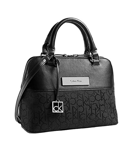 Calvin Klein Logo Jacquard Studio Dome Satchel Purse Handbag Black
