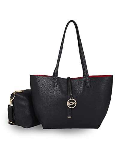 Bcbg Reversible Tote with Matching Convertible Bag Black/red