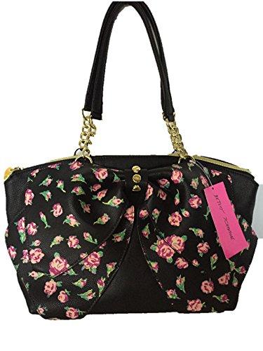 Betsey Johnson Black Rose Buds Satchel Handbag