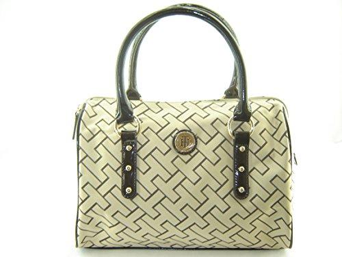 Tommy Hilfiger Bowler Satchel Handbag Beige Multi