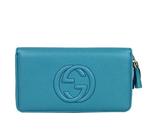Gucci Women's Teal Zip Around Soho Leather Wallet Clutch 308280 4616
