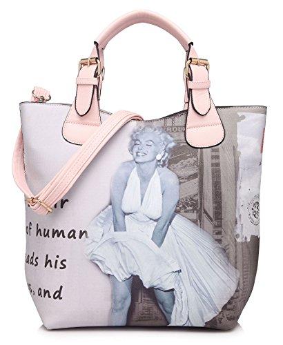 Big Handbag Shop Marilyn Monroe Designer Print Top Handle Shoulder Bag