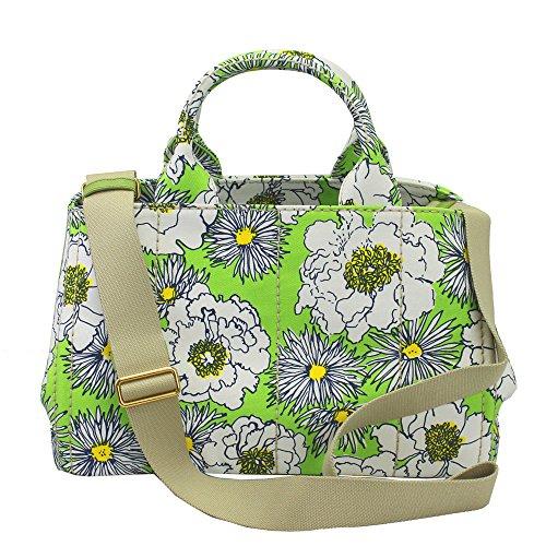 Prada Women's Canapa Green Flower Print Canvas Tote Bag W/strap Bn1877