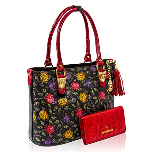 be6594f228 Marino Orlandi Italian Designer Handpainted Red Roses Leather Tote & Wallet  Set