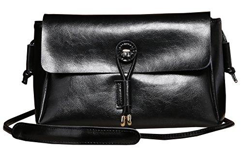Heshe Soft Genuine Leather Lovely Candy Color Clutch Organizer Purse Shoulder Crossbody Bag Satchel Purse Women's Handbag for Summer Style