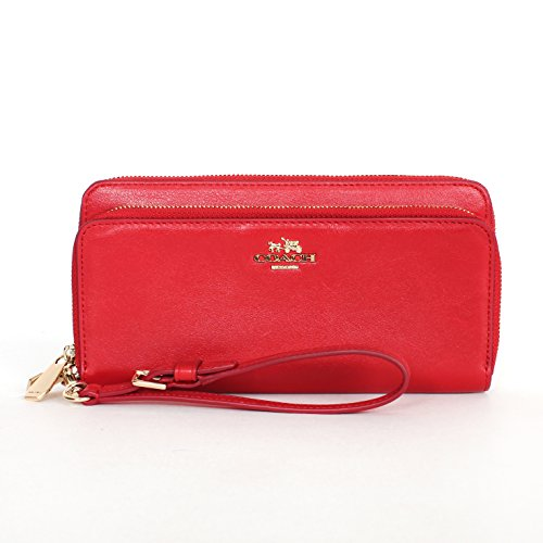 Coach 52103 Madison Leather Double Accordion Zip Wallet Wristlet in Red