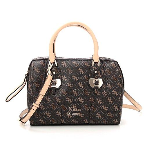 GUESS Women's Confidential Logo Box Satchel Bag, Brown