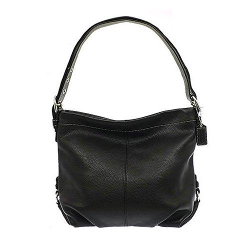 Authentic Coach Black Pebbled Leather Duffle Shoulder Bag 15064