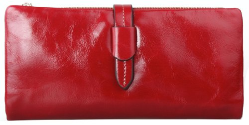 Heshe Ladies Wax Paper Genuine Leather Long Clutch Purse Card Holder Zip Pocket