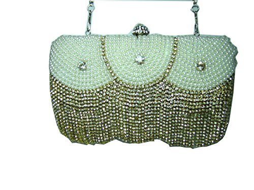 Melania Marqiz Evening Bag Purse 1920s Style Diamond and Pearl Silver Leather