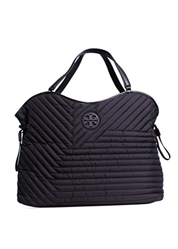 Tory Burch Quilted Nylon Slouchy Tote in Black
