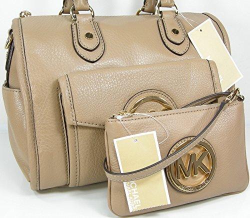 Michael Kors Logo Purse Satchel Hand Bag Genuine Leather & Wristlet Set 2 Piece