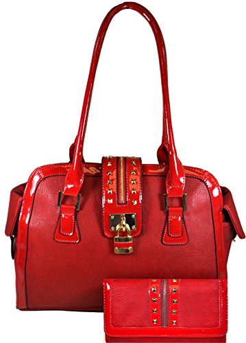 Authentic Arcadia Structured Satchel Handbag w/ Studded Accents and Lock Design JL2662-RD+JLLW8011-RD