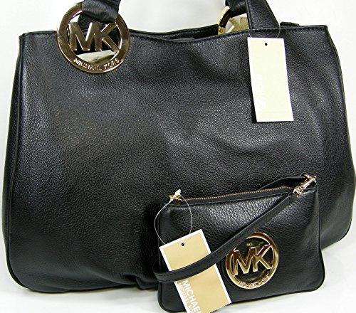 Michael Kors Purse Genuine Leather Tote Hand Bag & Wristlet Set Black 2 Piece