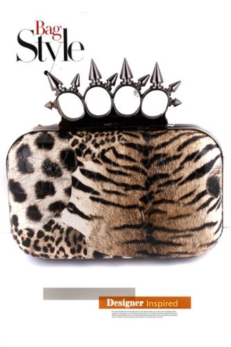 LEOPARD or Snake Skin, Cheetah Studded Animal Print w/Spikes Designer Celebrity Style BLING Clutch w/ Crystal Knuckle BLING Hard Case Clutch Evening bag w/Spike Knuckle Clasp closure Detail by Jersey Bling